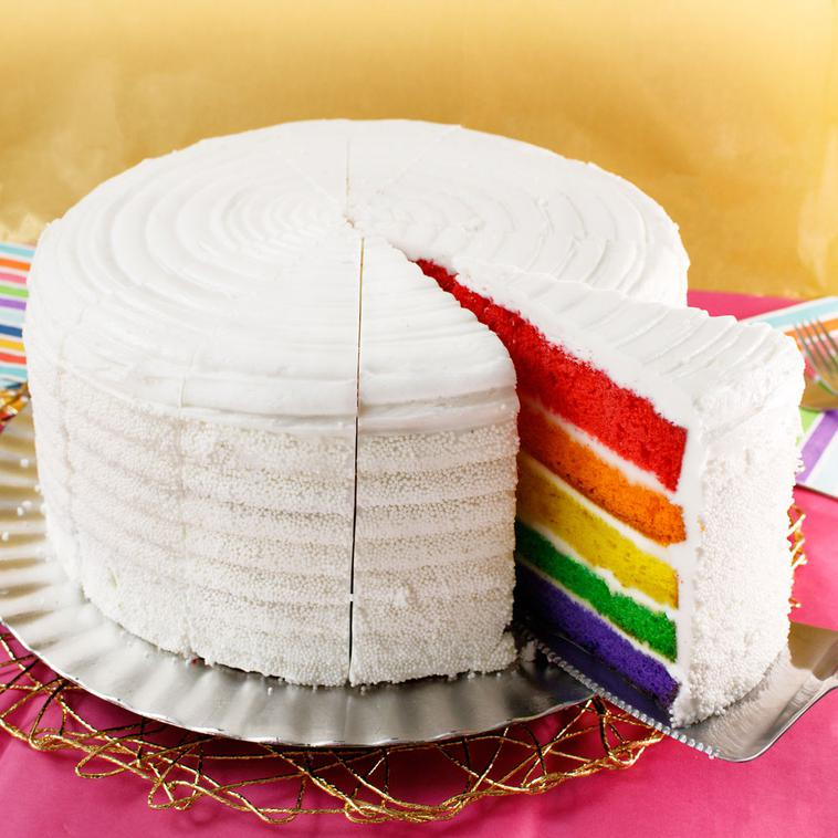 Outstanding Rainbow 10 Layer Cake Personalised Birthday Cards Cominlily Jamesorg